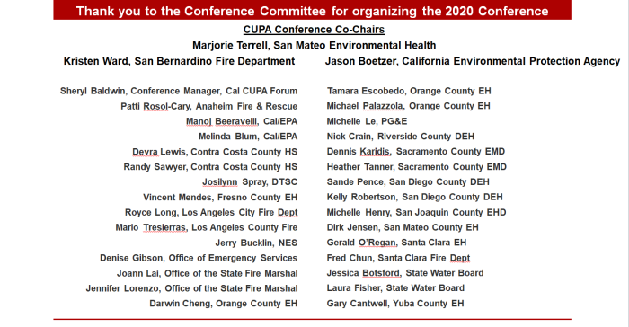 2020 CUPA Conference Committee